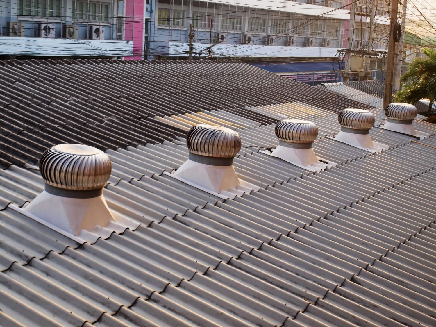 Whirlybirds Commercial ventilation system of commercial shop.